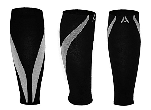 Calf Compression Sleeves | One Pair | Attain Fitness Graduated Compression Sleeves for Shin Splints & Performance. Spiral Compression for Improved Recovery and Blood Flow (Large, Steel) by Attain Fitness