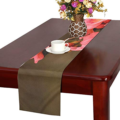 - WBSNDB Pink Azaleas Rhododendron Kurume Azalea Coral Bells Table Runner, Kitchen Dining Table Runner 16 X 72 Inch for Dinner Parties, Events, Decor