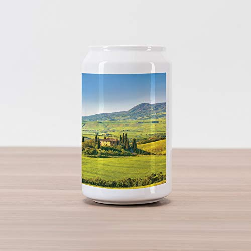 Lunarable Tuscan Cola Can Shape Piggy Bank, Rural Landscape Cypresses Along The Path to Ancient Vineyard Farm House, Ceramic Cola Shaped Coin Box Money Bank for Cash Saving, Green and ()