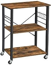 VASAGLE keukenplank op wieltjes, serveerwagen met 3 planken, magnetronplank, voor mini-oven, broodrooster, waterkoker, metaal, met 6 haken, industrieel ontwerp, vintage bruin-zwart KKS60XV1
