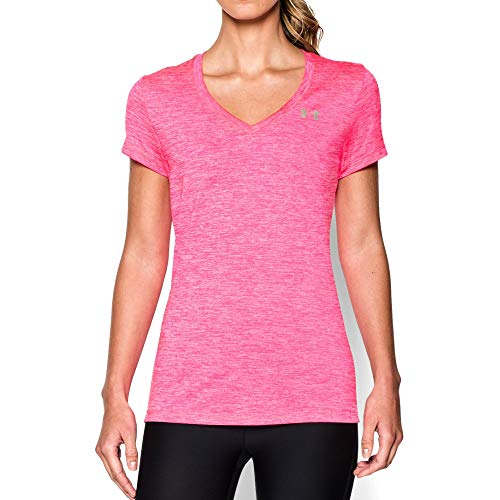 Pink V-neck Shirt - Under Armour womens Tech V-Neck Twist Short Sleeve T-Shirt, Mojo Pink (642)/Metallic Silver, X-Large