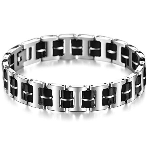 MOWOM Silver Tone Black Stainless Steel Rubber Bracelet Link Wrist I - Rubber Link Mens