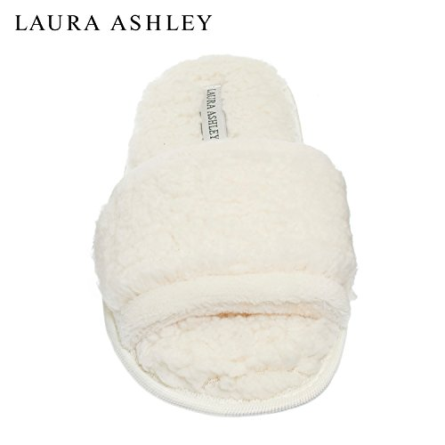 Laura Ashley Womens Ladies Luxury Spa Sherpa One Band With Memory Foam Slippers Cream White (White Bath Slippers)