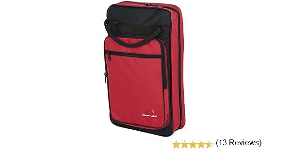 Ortola 6509-033 - Funda baqueta batería, 8 compartimentos, color negro y rojo