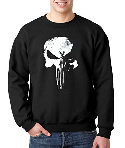 New Way 687 - Crewneck New Daredevil Punisher Skull Logo Unisex Pullover Sweatshirt Large Black