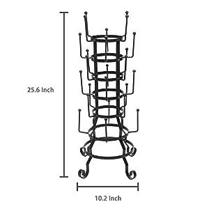 MyGift Vintage Rustic Black Iron Mug / Glass / Cup / Bottle Hanger Hooks Drying Rack Organizer Stand