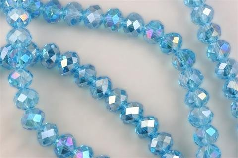 - Chinese Crystal Glass Beads Faceted Rondelle 10mm Topaz Blue Quartz AB [10 in. Strand] (3958)