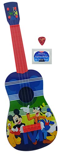 Kids Toy Music Guitar Gift Bundle| 3 Items, Disney Junior Mickey Mouse Play Guitar 24 Inches long | Real Guitar Strings, one Pick and one Mickey Mouse Badge |Ukulele Size