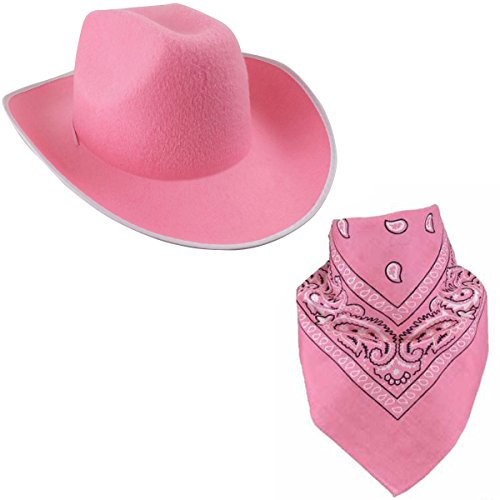 Pink Cowboy Hat - Felt Cowboy Hats w/ Paisley Bandana by Funny Party Hats