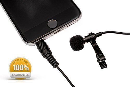 Microphone Clip-on Lapel Omnidirectional Condenser Mic for Apple iPhone, iPad, iPod Touch, Samsung Android, MacBook, iMac, and Windows Smartphones Podcast Phone Video Recording ()