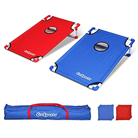 GoSports Portable PVC Framed CornHole Game Set with 8 Bean Bags and Carrying Case - Low Target Sets