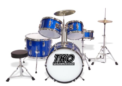 TKO TKO101BL 5-Piece Complete Junior Drum Set, Metallic Blue by TKO