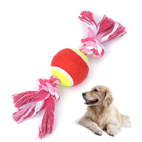 alignmentpai Double Knotted Cotton Rope, Pet Puppy, Dog Tug Play Chew Toy with Tennis ()