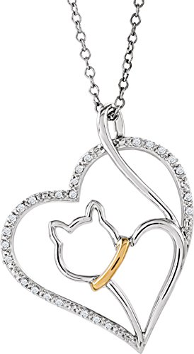 Cat Lover's Diamond Heart Necklace, Sterling Silver and 10k Yellow Gold Necklace, 18