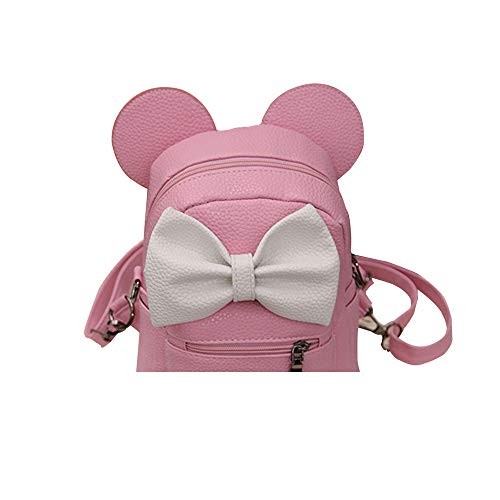 ✔ Hypothesis_X ☎ Children's Bag Mickey Cute Backpack Bowknot Mini Crossbody Bag Double Shoulder Mini Bag Pink