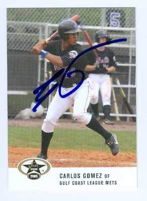 (Carlos Gomez autographed baseball card (GC Mets Brewers Texas Rangers star) 2005 Just Minors #19 Pre Rookie)