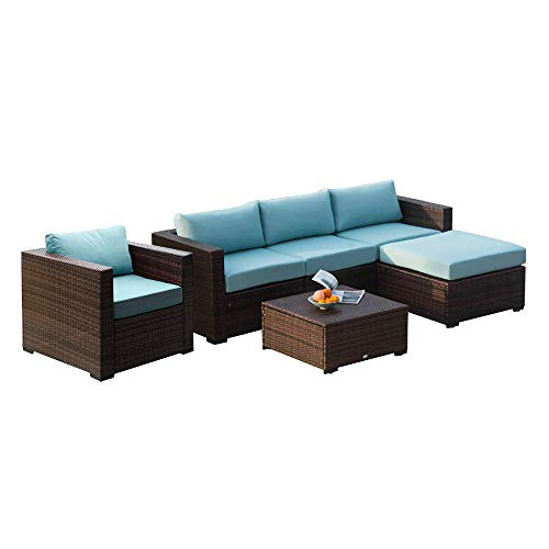 Auro Patio Outdoor Furniture Sectional Conversation Seating Sets Sofa Set -Mixed Brown 6 Piece-1, Sky Blue