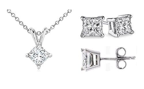 PARIKHS Princess cut Diamond Pendant & Stud Set Promo Quality-White Gold (0.07 ctw, I3 clarity)