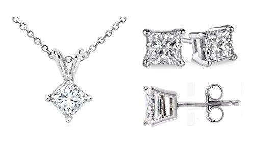 PARIKHS Princess cut Diamond Pendant & Stud Set Promo Quality White Gold (0.20 ctw, I3 clarity)