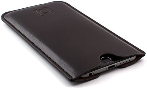 "Dockem Executive Sleeve for iPhone 11 Pro Max, XS Max, 8 Plus, 7 Plus, 6/6S+ (6.5"" Models): Synthetic/Vegan Leather with Microfiber Lining, Slim, Simple, Slip-on Case [Dark Brown]"