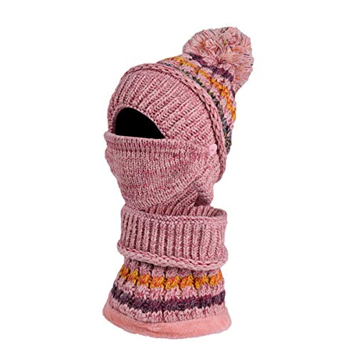 [해외]Thenxin Womens Winter 2 in 1 Knit Balaclavas Scarf Warm Ski CapPom Windproof Ski Mask / Thenxin Womens Winter 2 in 1 Knit Balaclavas Scarf Warm Ski CapPom Windproof Ski Mask(Pink,one Size