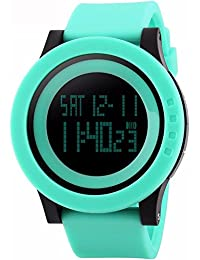 Gosasa Unisex's Big Dial Multifunction 50M Waterproof Light Green Slicone Strap LCD Digital Sport Watches