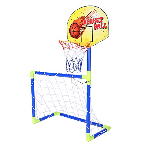 Basketball Stands, 2 in 1 Children Portable Football Basketball Set Soccer Goal Hoop Backboard Sports Toy for Kids,Basketball Set
