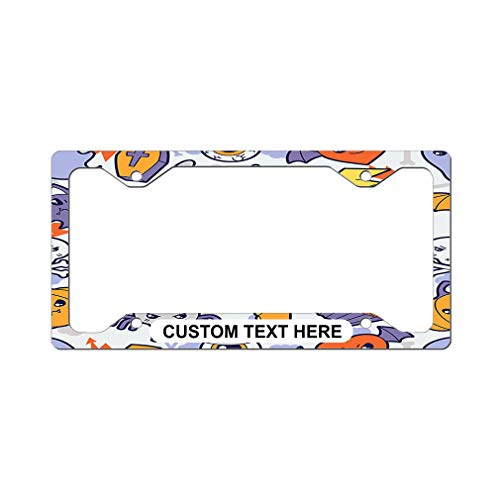 Style In Print Custom License Plate Frame Cartoon Vampire Cat and Cupcake Aluminum Cute Car Accessories Narrow Top Personalized Text Here Set of 2