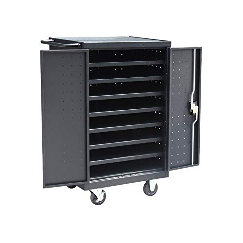 Pearington 12 Bay Rolling, Charging Cart Station for Classroom and Office- For use with Chromebooks, iPad, Tablets and Laptop Computers; Secure Locking Cabinet Storage-Store up to 16