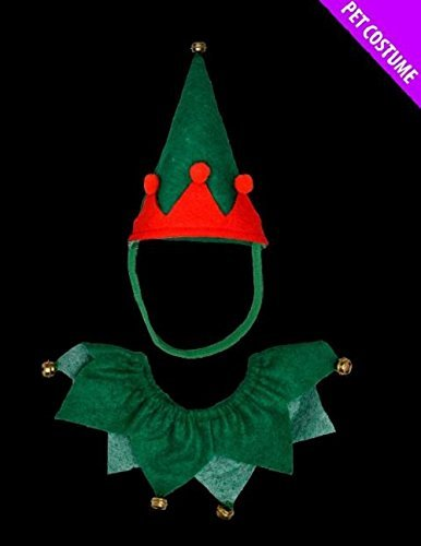 Red And Green Elf Pet Set - Hat And Collar - Suitable For Cats & Dogs
