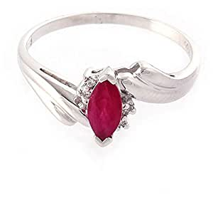 Mikoya 18K Solid White Gold 0.40CT Marquise Shape Ruby Ring in Size 6 US [DJRN2772]