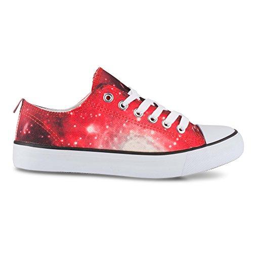 Tordu Femmes Kix Lo-top Galaxie Impression Casual Mode Sneaker Red Galaxy