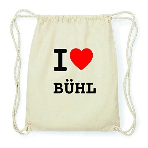 JOllify BÜHL Hipster Turnbeutel Tasche Rucksack aus Baumwolle - Farbe: natur Design: I love- Ich liebe
