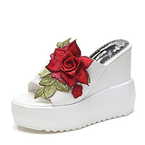 せがむ尽きる失業夏靴、aimtoppyレディースthick-bottom傾斜サンダル刺繍ハイヒールウェッジプラットフォームシューズ US:6.5 ブラック AIMTOPPY