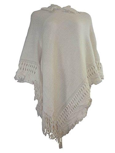 Jersey de mujer con funda de punto para PONCHO con capucha para mujer de palos y - en la parte superior y 8 24 para mampara Ivory