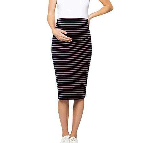 (Nevera Women Comfort Stretch High Waisted Tummy Control Midi Maternity Pencil Skirt Navy)