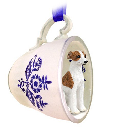 Brindle & White Whippet Blue Tea Cup ()