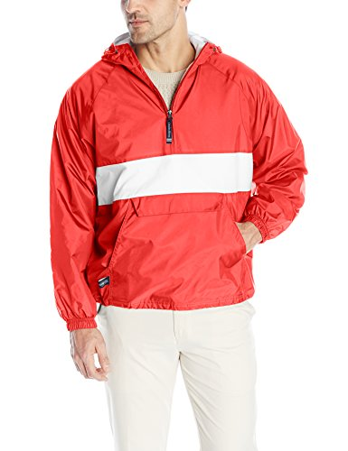 - Charles River Apparel Wind & Water-Resistant Pullover Rain Jacket (Reg/Ext Sizes), Red/White, XS