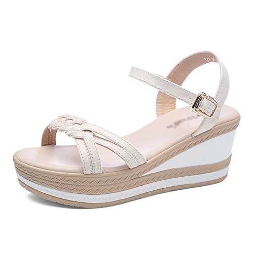 Student Woven Summer Zapatos Women The Thick amp;chanclas Muffin Mujer B Slope De Bohemia Band New Xia Bottom Cake Sandals IPqFwx