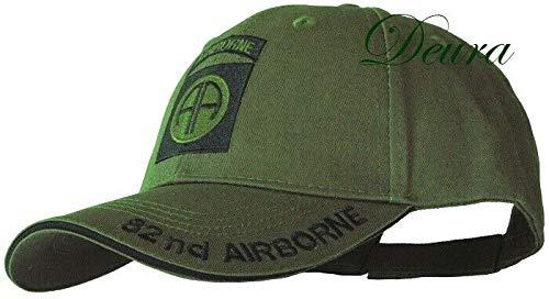 (DEURA U.S. Army OD Green Baseball Cap 82nd Airborne Insignia Hat)