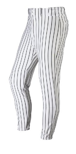 - Wilson Adult Poly Warp Knit Woven Pinstripe Baseball Pant, White with Black Pinstripes, Medium