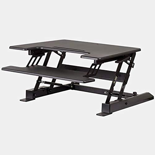 Metal Desk with Keyboard Tray - Adjustable Standing Desk - Black