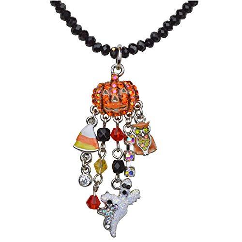 Kirks Folly Baby Peter Pumpkin Necklace Silvertone/Jet Black Beads