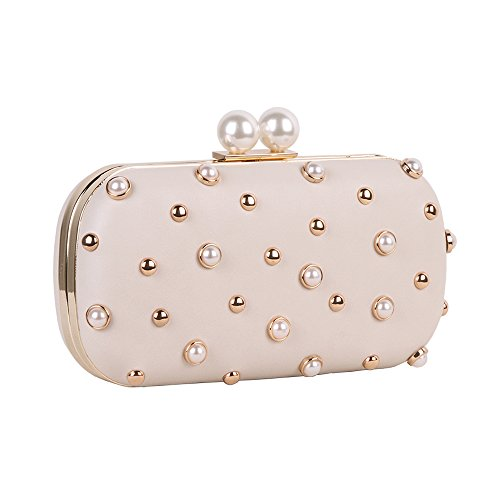 Pearls and Studs Clutch Purse Handbag with Gold Metal Fittings For Women, Crossbody Evening Bag in Hardcase with Strap Chain For Party (Beige) by M10M15