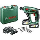 Bosch DIY Akku-Bohrhammer Uneo Maxx, 2 Akkus, Ladegerät, 2 x Betonbohrer, 2 x Universalbohrer, 4 Bits, Koffer (18 V, 2,5 Ah, max. Bohr-Ø Stahl: 8 mm, Beton: 10 mm, Holz: 10 mm)
