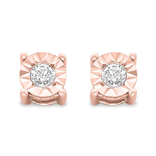 Sterling Silver .10ct. TDW Round-Cut Diamond Miracle-Plated Stud Earrings (J-K,I3) (Rose)