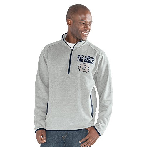 NCAA North Carolina Tar Heels Men's 1 On 1 Quarter Zip Fashion Top, Heather Grey, (G-iii Baseball)