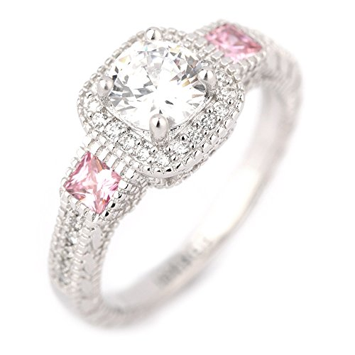 Round Cut Clear Stone 18K White Gold IP Plated Stainless Steel Pink Accent Engagement Wedding Band Ring (Ring 18k Pink)