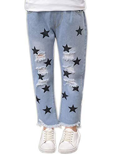 Sitmptol Big Girls Distressed Ripped Hole Jeans Fashion Soft Denim Pants Jean Blue Star 160