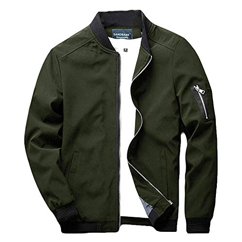 sandbank Men's Slim Fit Lightweight Sportswear Flight Bomber Jacket Softshell Casual Coat (Army Green, US L (Asian Tag 4XL))